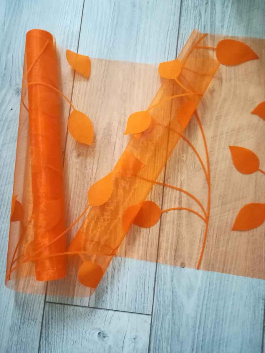 Organza s potlačou listy I. oranžová - predaj - Obrázok č. 1
