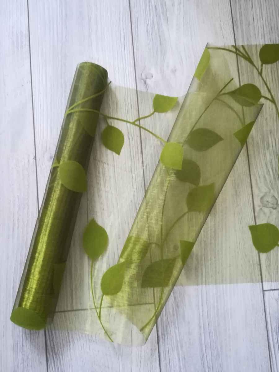 Organza s potlačou listy I. zelená - predaj - Obrázok č. 1