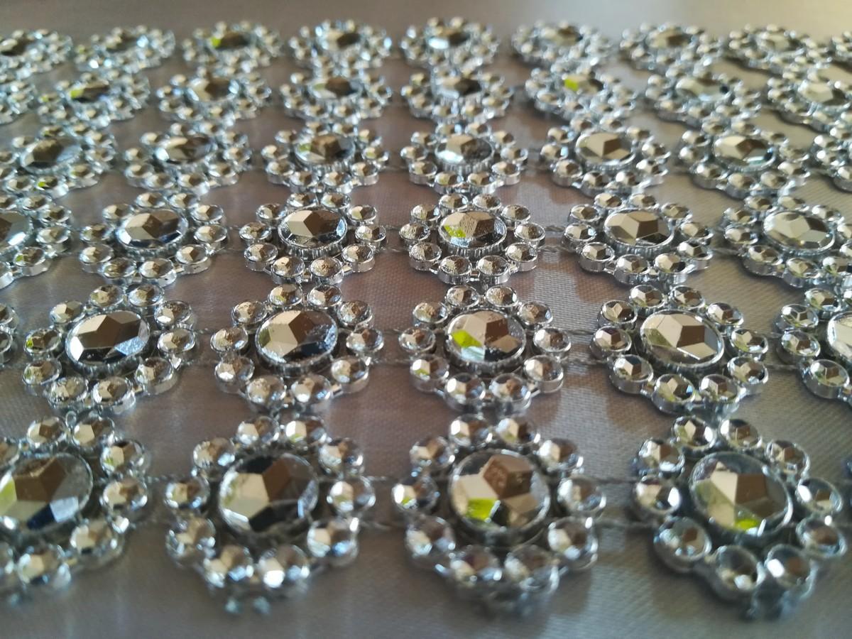 Diamantový pás kvietky strieborný 10cm - Obrázok č. 1