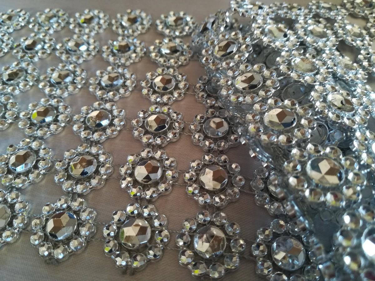 Diamantový pás kvietky strieborný 10cm - Obrázok č. 2