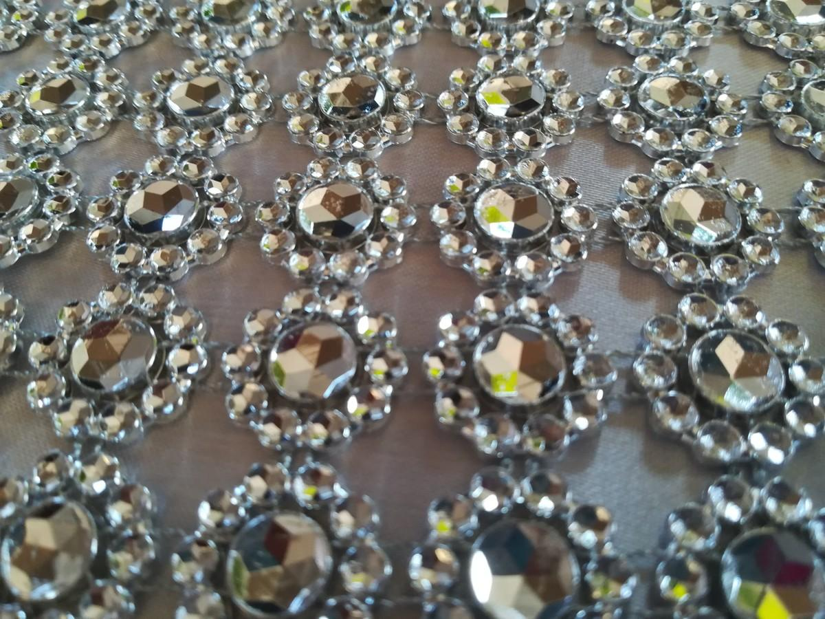 Diamantový pás kvietky strieborný 10cm - Obrázok č. 3