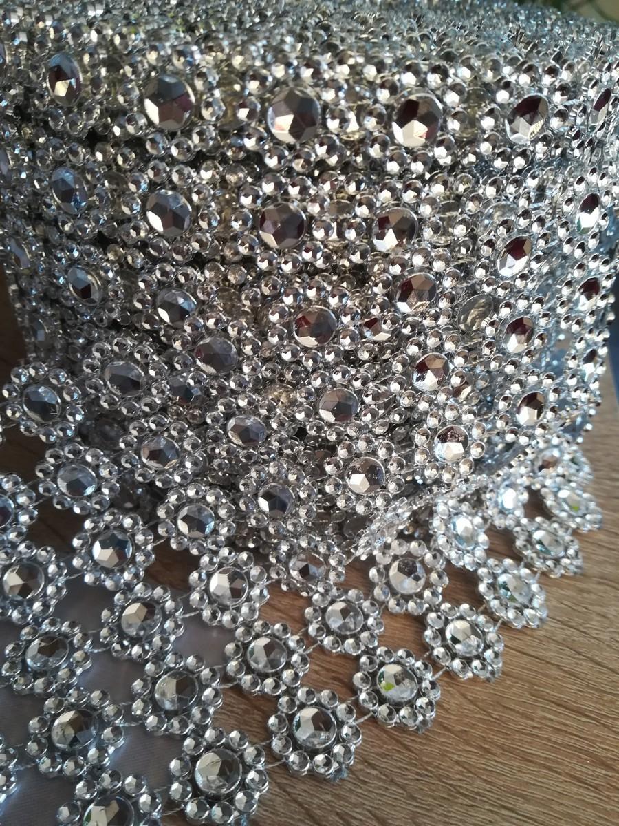 Diamantový pás kvietky strieborný 10cm - Obrázok č. 4