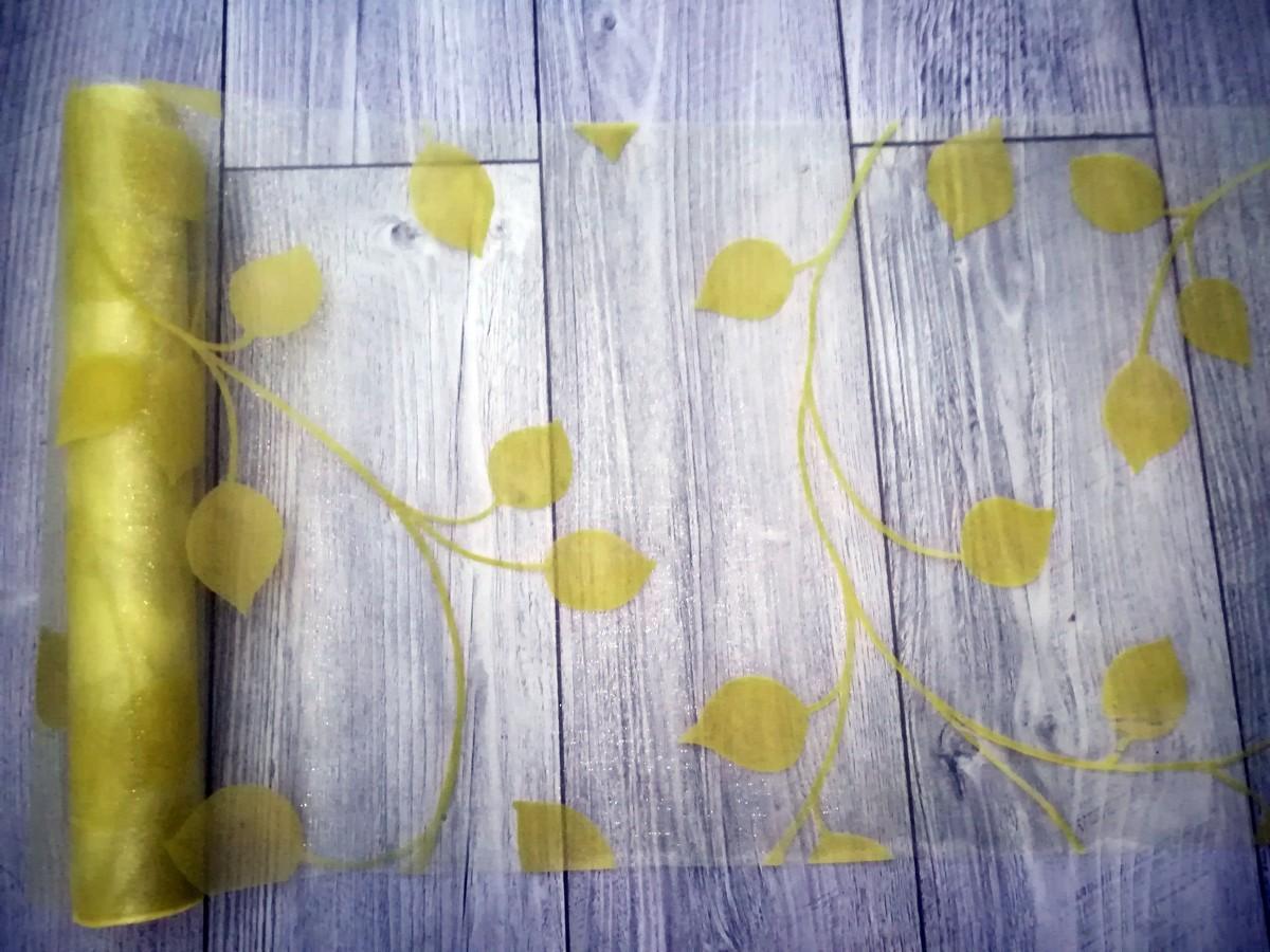 Organza s potlačou listy I. žltozelená - predaj - Obrázok č. 4
