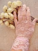 Nepoužité růžové krajkové rukavičky ,