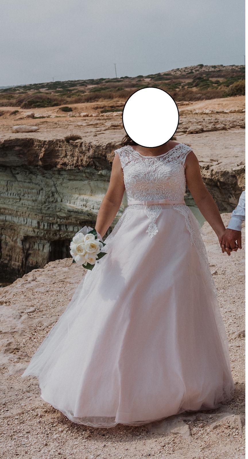 bielo ružové svadobné šaty 42-44 - Obrázok č. 1
