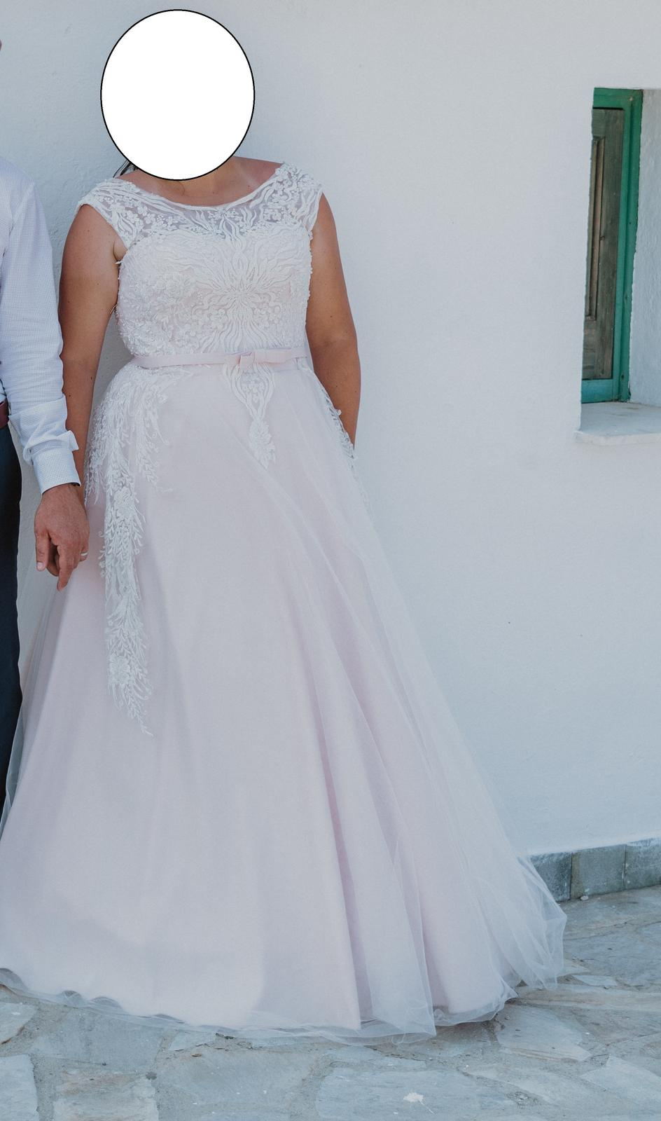 bielo ružové svadobné šaty 42-44 - Obrázok č. 2