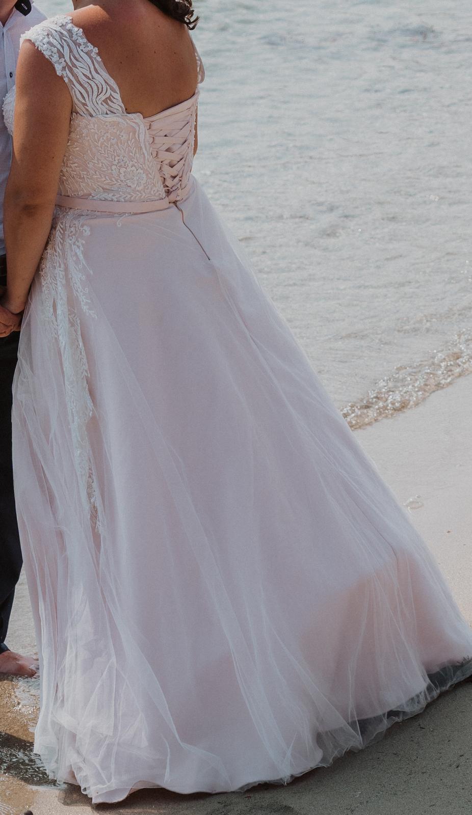 bielo ružové svadobné šaty 42-44 - Obrázok č. 4