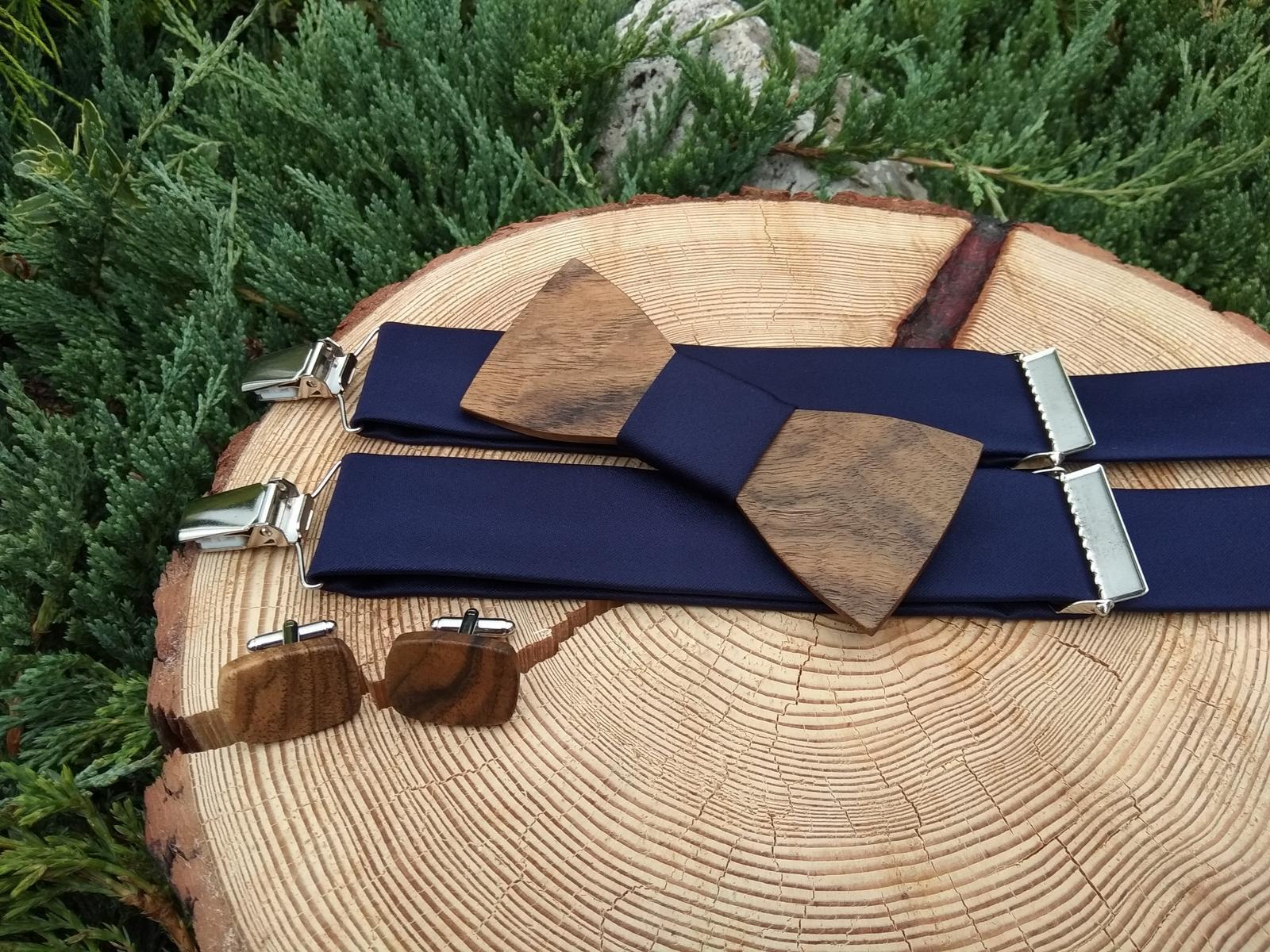 Pánsky set - drevený motýlik, manžetové gombíky a  - Obrázok č. 1