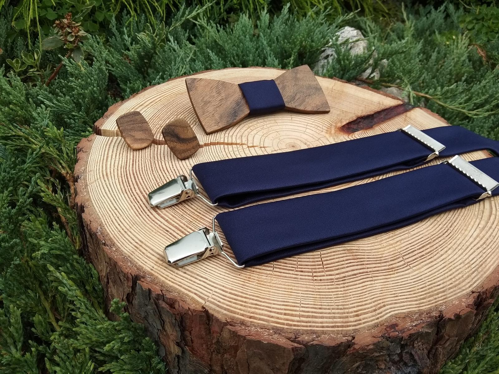 Pánsky set - drevený motýlik, manžetové gombíky a  - Obrázok č. 2