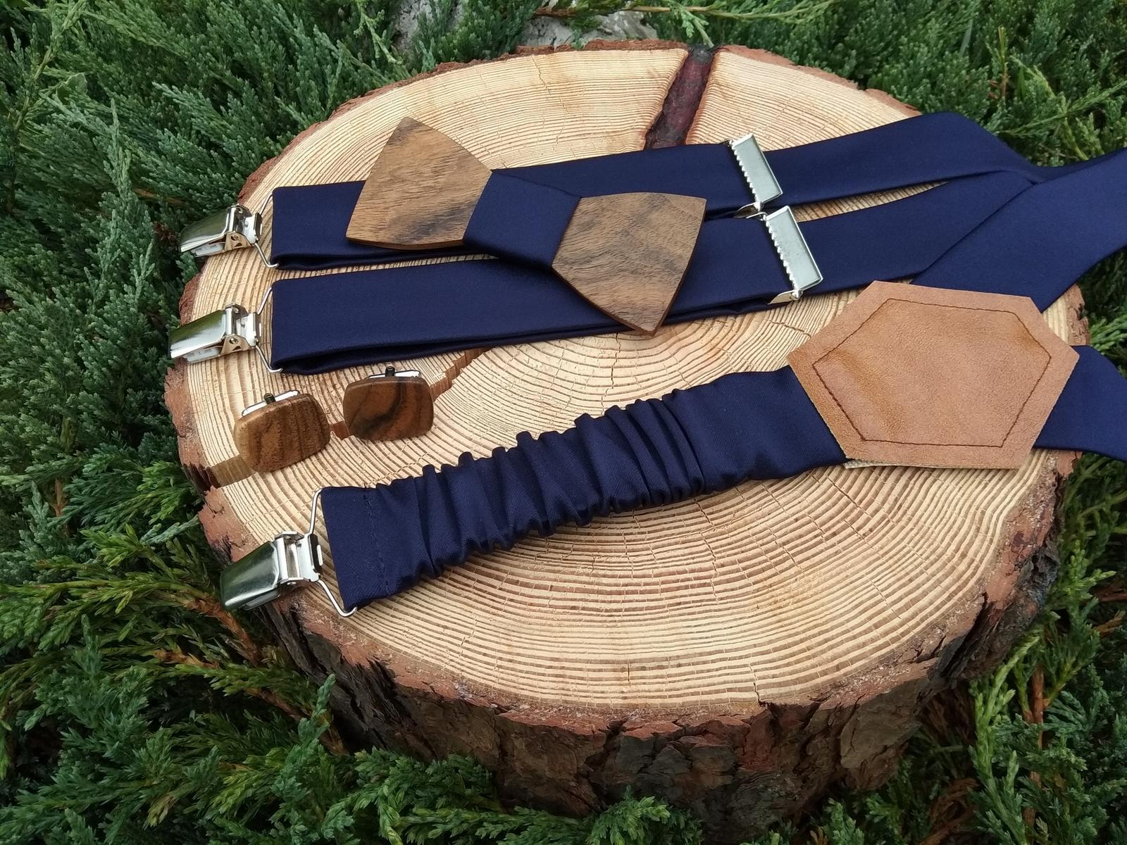 Pánsky set - drevený motýlik, manžetové gombíky a  - Obrázok č. 3