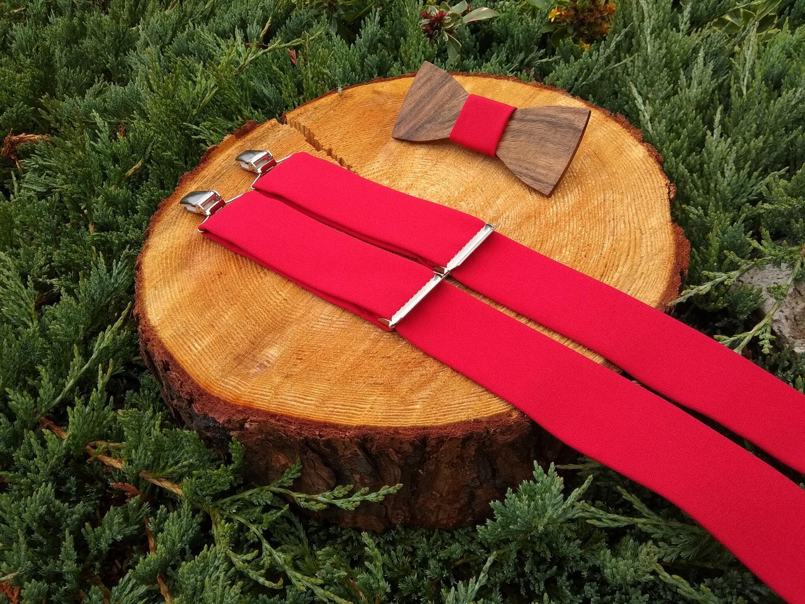 Pánsky set - drevený motýlik a traky - Obrázok č. 1