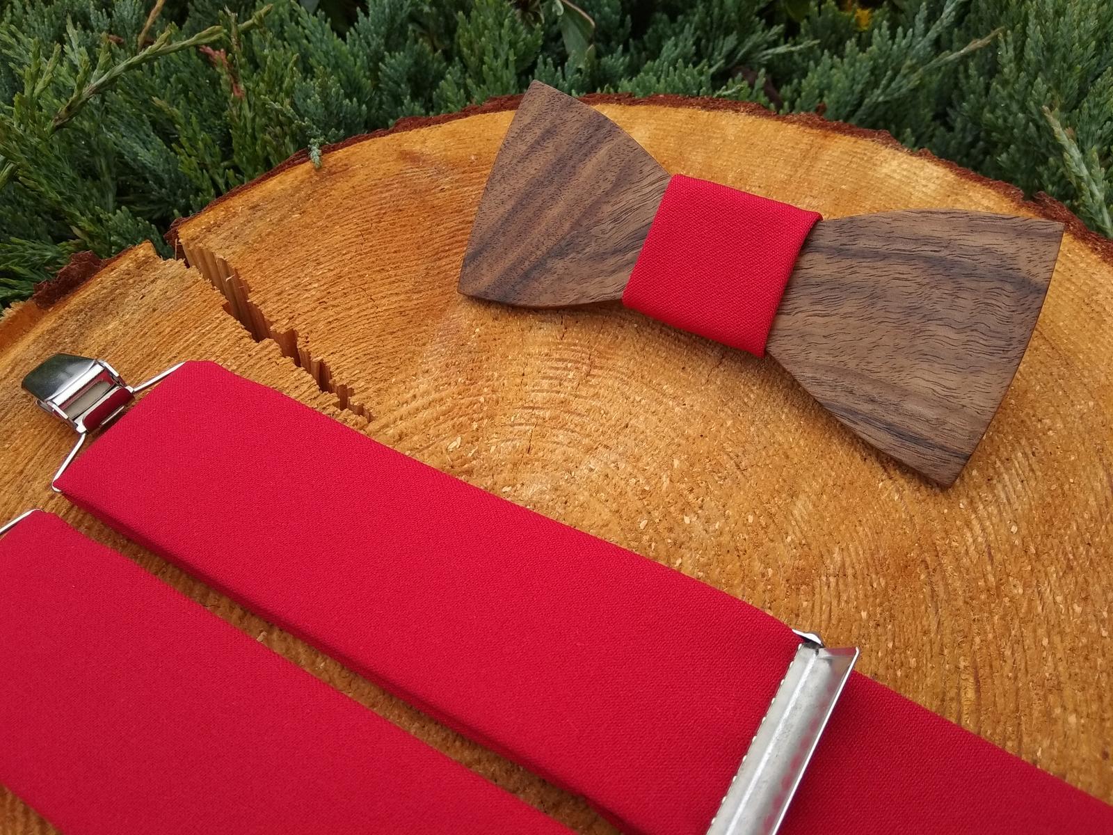 Pánsky set - drevený motýlik a traky - Obrázok č. 3
