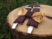 Pánsky set - drevený motýlik a traky,