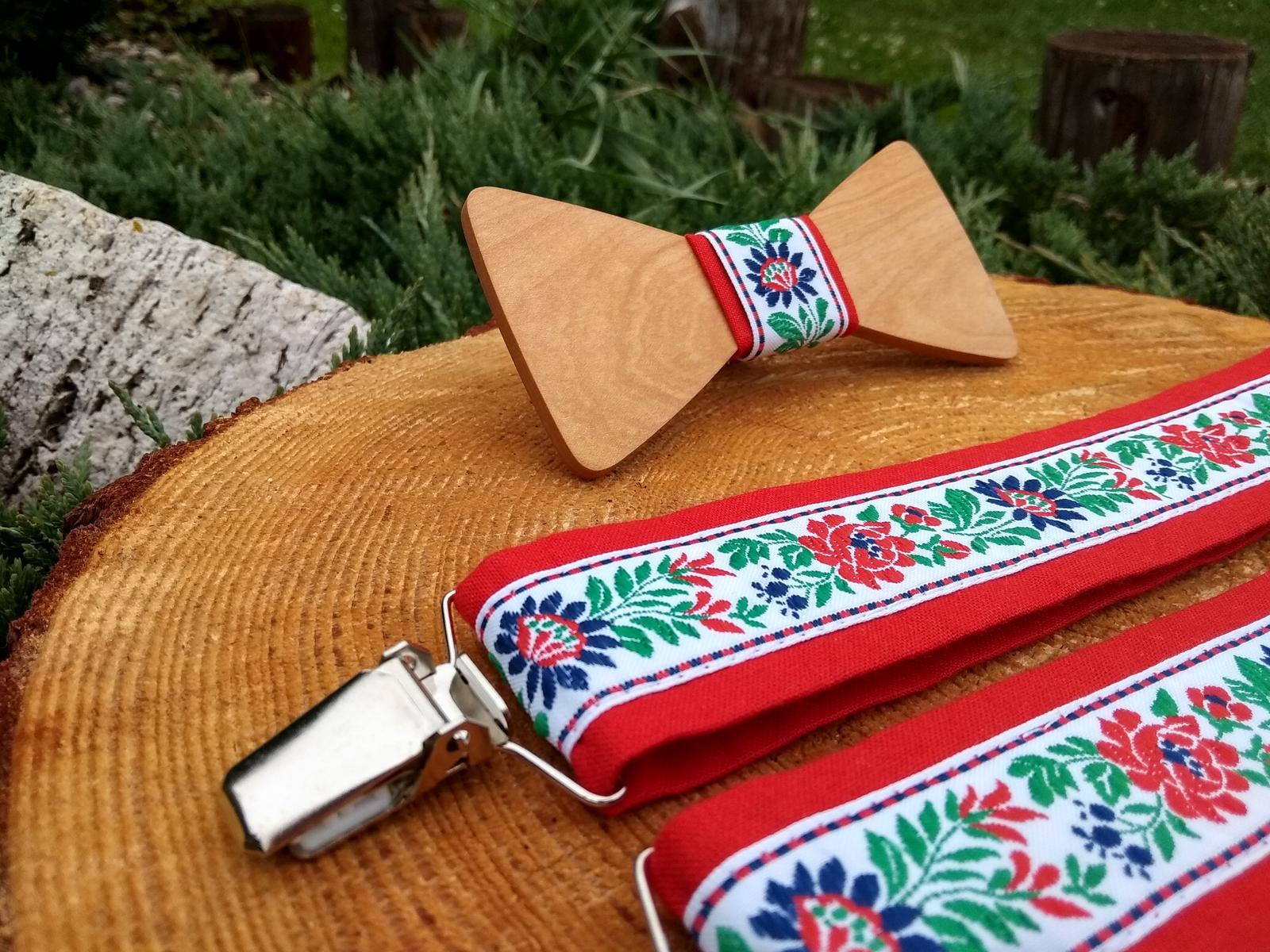 Pánsky set - drevený motýlik a traky - Obrázok č. 2