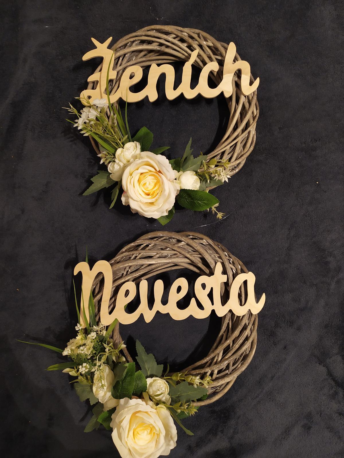svadobný veniec na dvere pre nevestu a ženícha - Obrázok č. 1