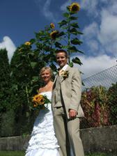 na zahradě před slunečnicemi