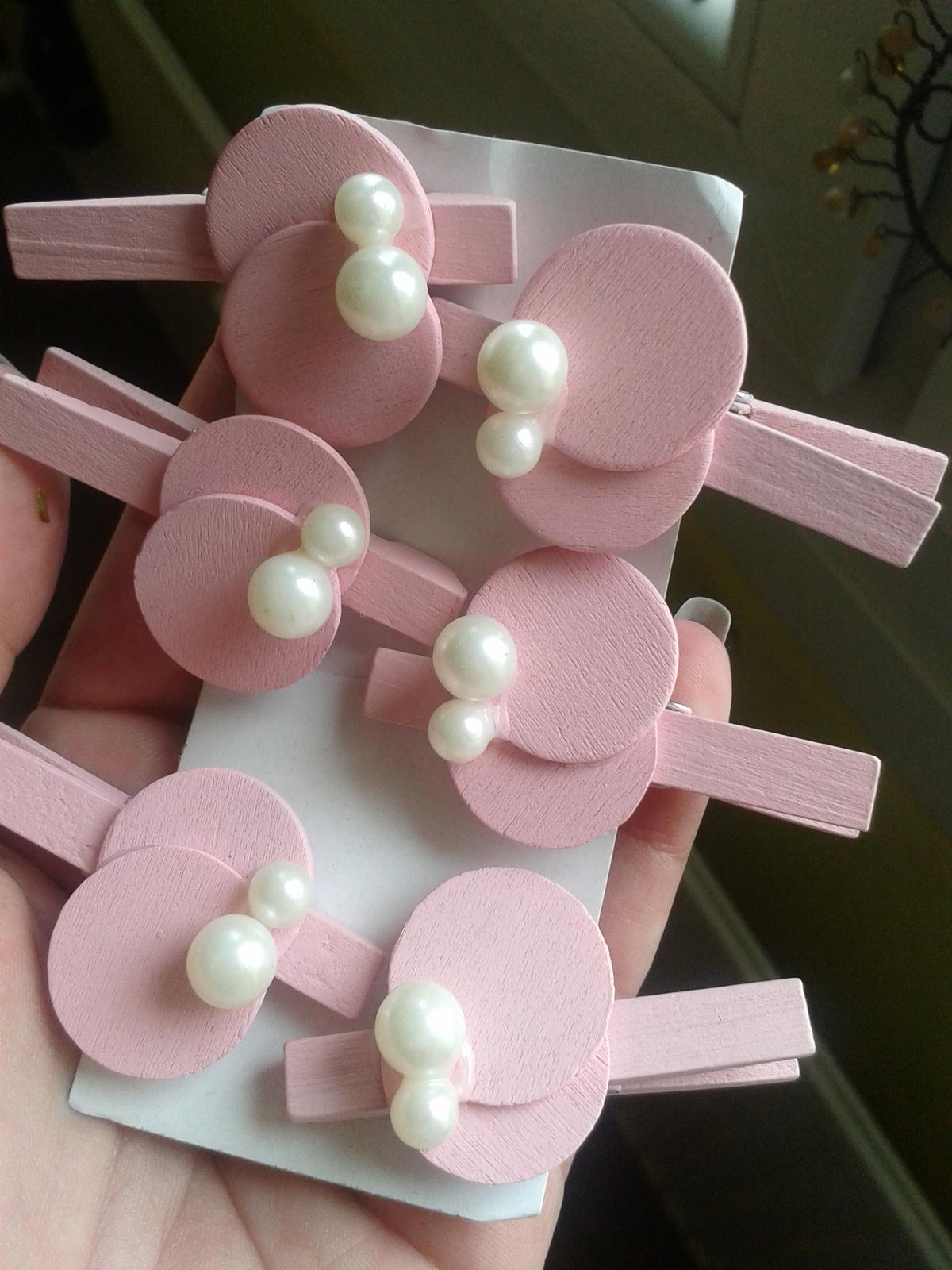 Růžové kolíčky 6ks - Obrázek č. 1