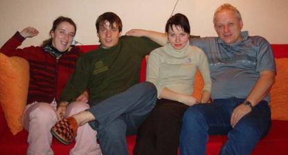 Olča (bráchova přítelkyně), Mirek (můj bráška a svědek), Já a taťka