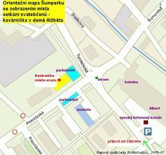 Mapka místa srazu (kavárnička na Temenické 35) a domu nevěsty