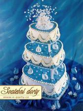 predloha na svadobnu tortu - modra, srdieckovska, trojposchodova, mnaam