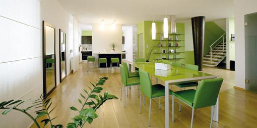 Jabĺčková - Myslím, že tie zelené stoličku sú už priveľa, zvolila by som skôr hnedé alebo biele ale je to krásny priestor.