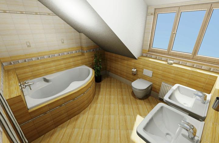 Koupelny Nova 101 - Horní koupelna upravená - nika na odkládání vedle vany