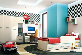 Nakonec jsme objednali tento nábytek, vypadá docela kvalitně. Ikea se synovi nelíbila, tak jsme hledali všude možně. Teď si musíme asi měsíc počkat, než to vypukne:-)