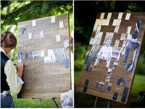 KNIHA HOSTŮ:  zvětšit společnou fotku a rozstřihnout ji(dle počtu hostů), dílky fotky i tabule se shodně očíslují, kartičky promíchají, hosté pak dozadu napíšou přání a připevní... během hostiny vznikne společná fotka novomanželů .-)
