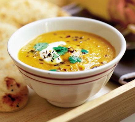 JÍDLO - inspirace - vegetariánská Polévka č. 2 – mrkvovo-čočková http://www.bbcgoodfood.com/recipes/2089/spiced-carrot-and-lentil-soup
