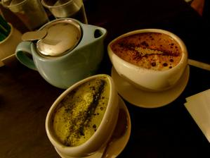 Green Tea Matcha Latte + Hot Chocolate  http://gninethree.wordpress.com/2011/04/15/the-aviary-dessert-kitchen/