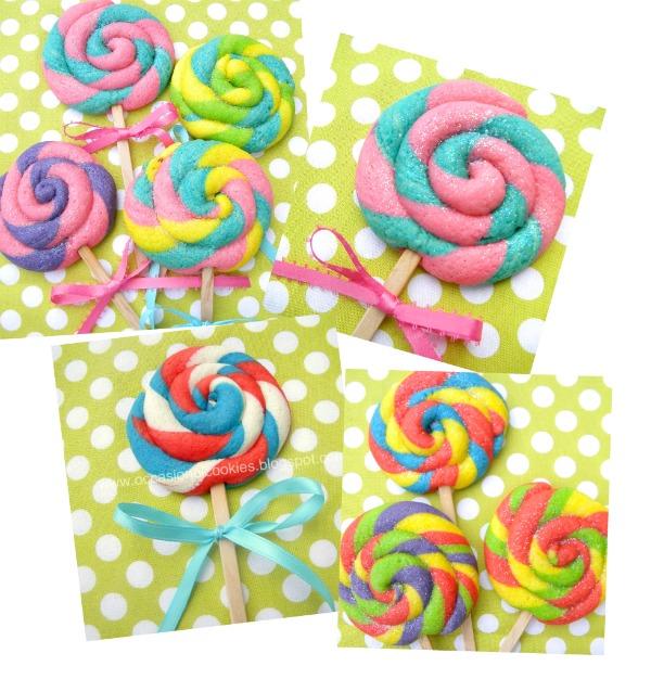 Duhová inspirace - TO JSOU SUŠENKY!! co takhle s nějakým šíleným barvivem :-D RECEPT http://www.sweetsugarbelle.com/2011/06/lollypop-cookies/