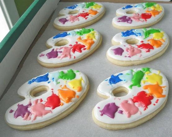 JÍDLO - inspirace - a barevné sušenkové malířské palety