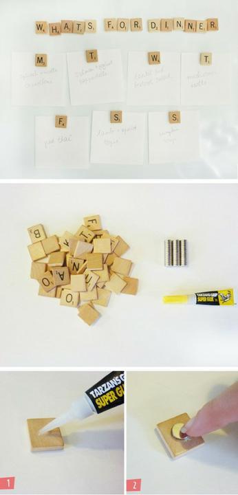 Chytré nápady - Scrabble magnety na vzkazy
