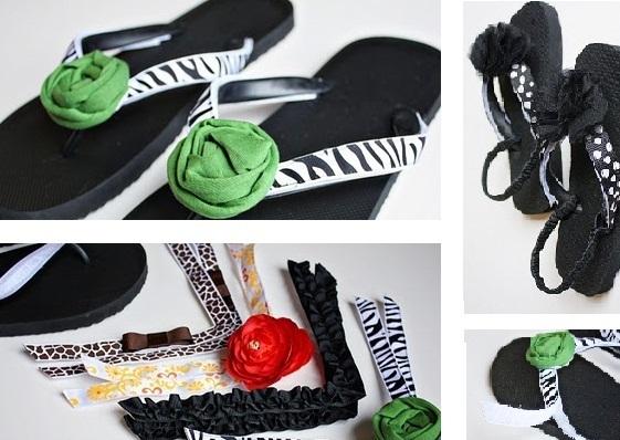 Chytré nápady - NÁVOD V obchodě po nás za ně chtějí MAJLANT, co koupit levné, zrecyklovat odstřižky a naplnit botník sandálky podle našeho gusta? ;-) http://www.makeit-loveit.com/2010/03/interchangeable-flip-flops.html