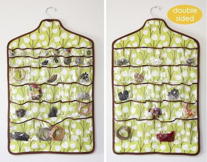 Chytré nápady - i na šperky (možno oboustranný) http://www.makeit-loveit.com/2011/08/hanging-jewelry-holder-space-saver.html