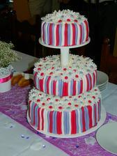 náš vynikající dort.vrchní patro čokolada,prostřední punč, a spodní vanilka :-) MŃááám