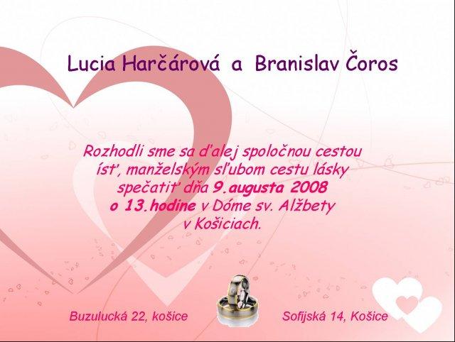 Lucia a Braňo - oznamko - navrhujem si ho sama