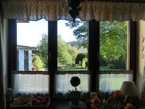 výhľad z okna na našu záhradu - mám ho ako tapetu na PC a tak každý deň pozerám do záhradky :-)