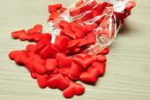 rudé (červené)  textilní srdce 35mm,