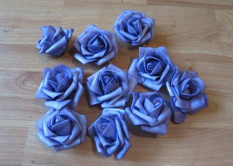 lila, fialové pěnové růže 10ks- nepoužité - Obrázek č. 1
