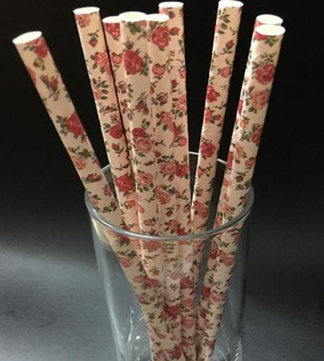 nepoužité papírové brčka, slámky- růže - Obrázek č. 1