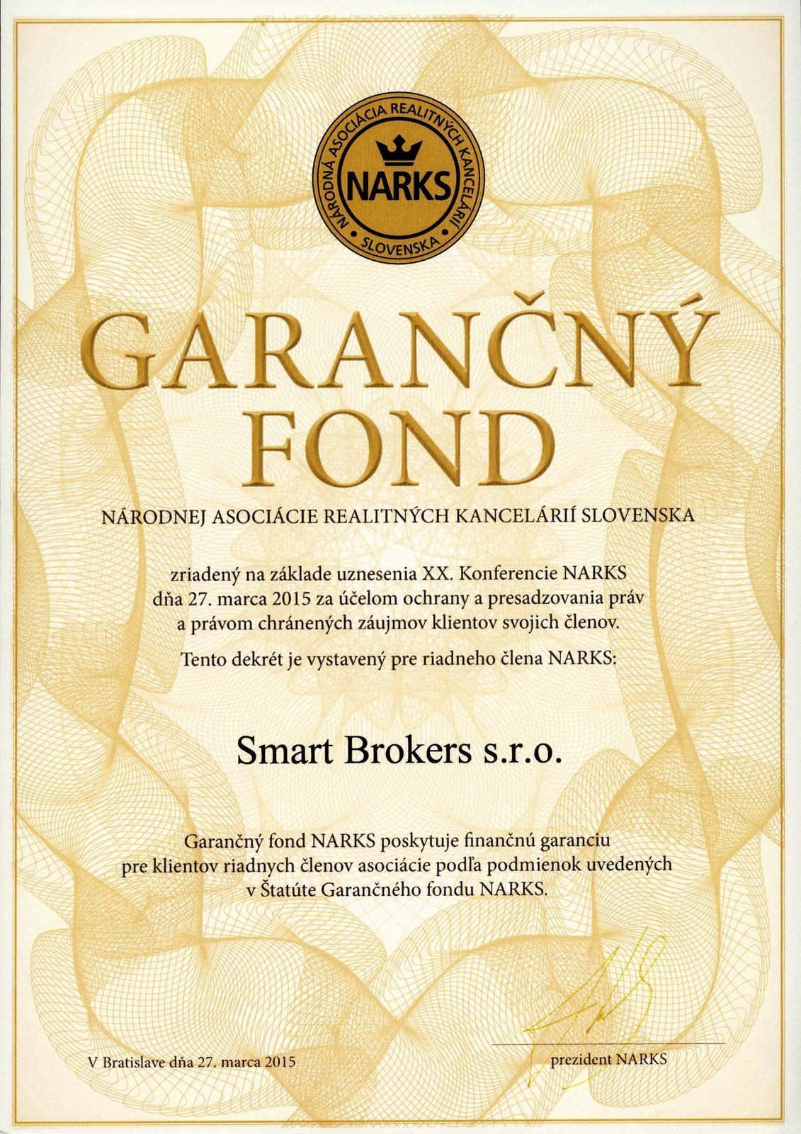 smartbrokers - Garančný fond NARKS / Smart Brokers s.r.o.
