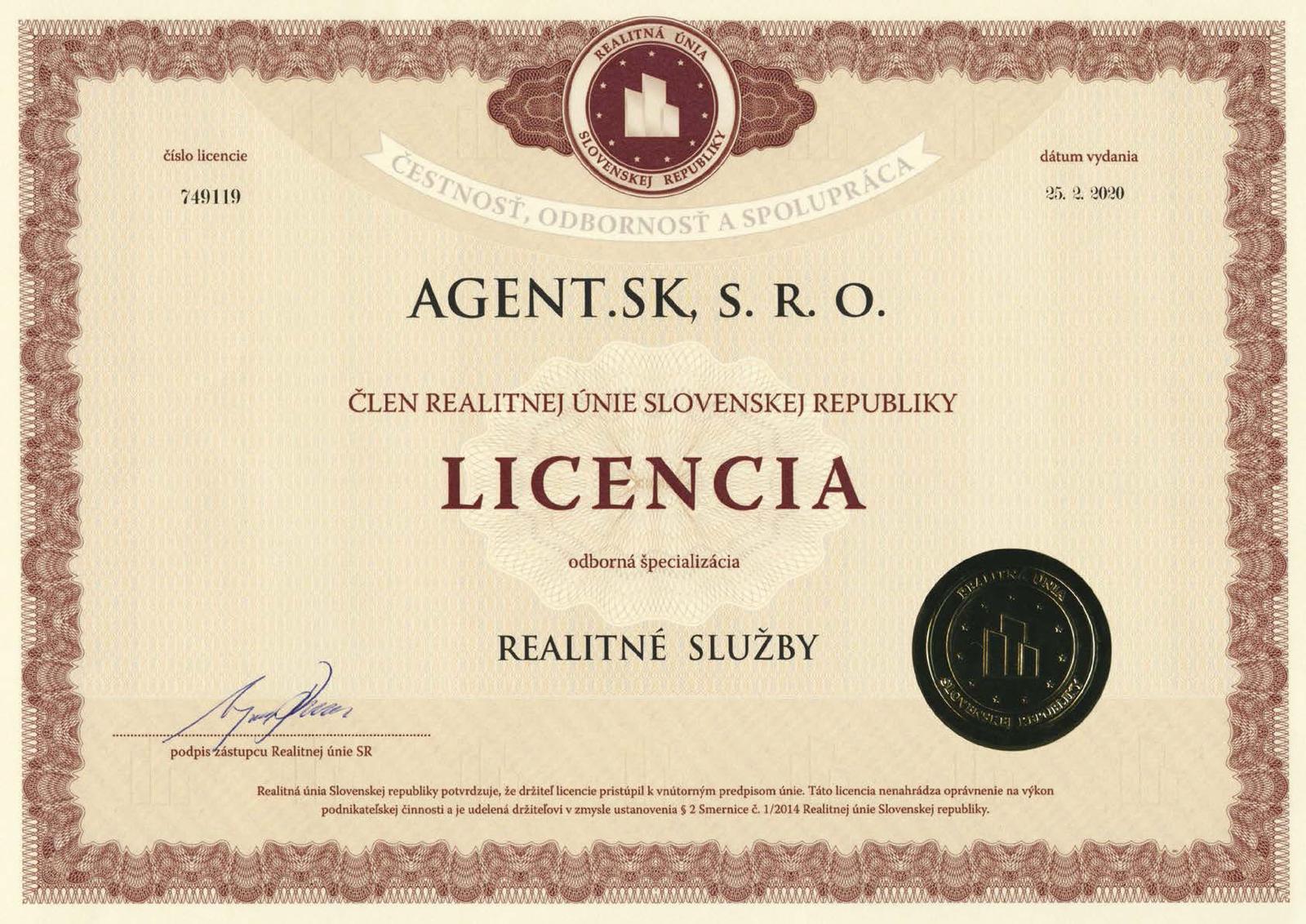 smartbrokers - AGENT.SK - Licencia Realitné služby