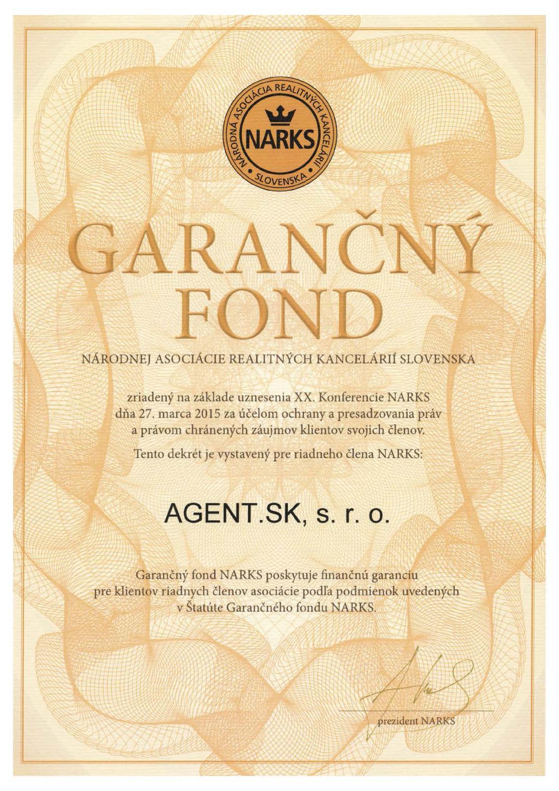 smartbrokers - AGENT.SK - Garačný fond NARKS
