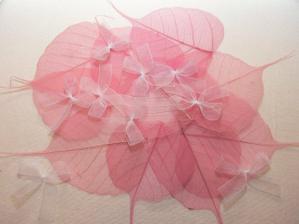 růžové listy a mašličky mám připravené na výzdobu jmenovek