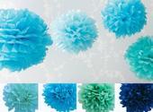 Pom poms květiny - 15,25,35cm, modrá (4 odstíny),