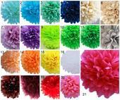 Pom poms květiny - mix barev - 35cm,