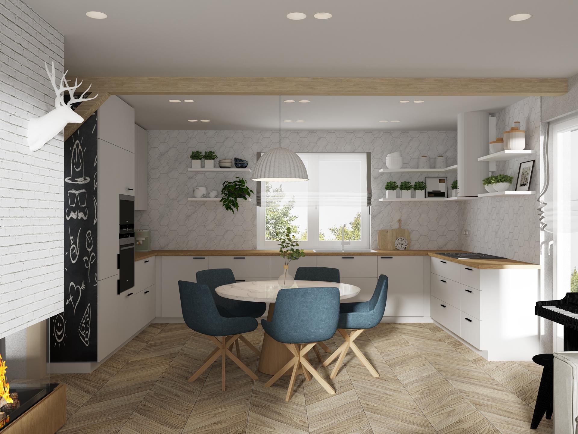 Drevodomcek_na_vychodze - Pôvodná viza kuchyne. Tu vidím, že určite pôjdeme do studených tónov dreva, nie teplých ako na tejto fotke.