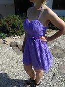 fialové krajkové šaty v 40, 40