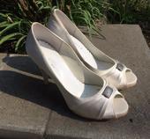 Svatební boty, satén, béžová, 38